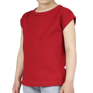 T-Shirt mit Waffelstruktur in rot - Carlique