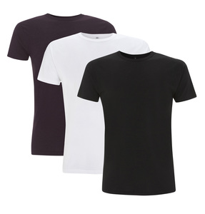 3er Pack Mens Bamboo Viscose T-Shirt -Black/Eggplant/White - Continental Clothing