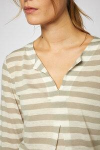 Streifenshirt mit Falte aus Tencel® und Bio-Merinowolle - Lanius