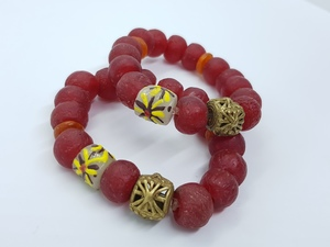Rotes Perlenarmband SUDANESE ROUGE PEINTURE  - PEARLS OF AFRICA
