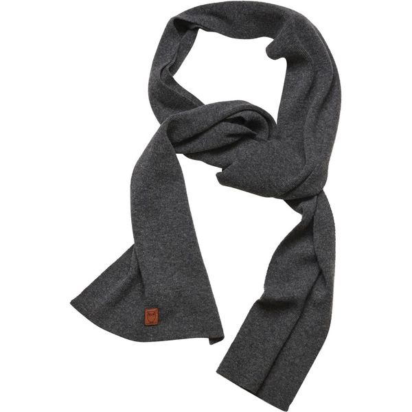 e194046771c KnowledgeCotton Apparel - Wollschal - Scarf organic wool - Dark Grey Melange