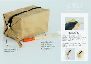 Kraft Papier : Cosmetic bag/ Kosmetiktasche/ Handtasche. Lederoptik - BY COPALA