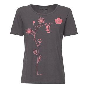 T-Shirt hellrot/dunkelgrau Bio & Fair // TT64 Damen //Schaukelmädchen - FellHerz