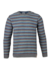 Striped Knit Reverse Dark Grey Melange - KnowledgeCotton Apparel