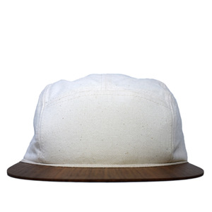 Canvas Cap weiß mit edlem Holzschirm - Made in Germany - Sehr bequem - Lou-i