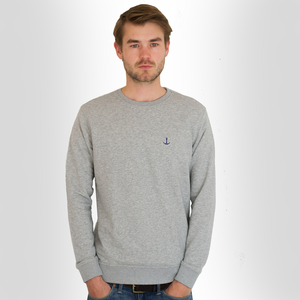 Sweatshirt Grau mit Anker-Stick (fair & bio)  - Hanseat