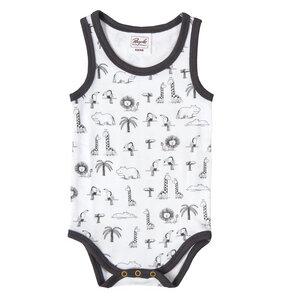 Baby Ärmelloser Wickelbody - weiß bedruckt - People Wear Organic