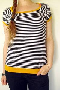 BIO Shirt - schwarz/weiß geringelt - senfgelb - æbletræ