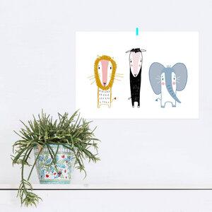 Poster Beste Freunde Löwe, Schaf und Elefant - noull
