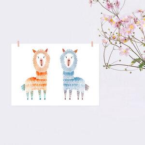 Poster Zwei Alpakas - noull