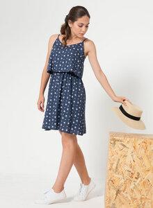 Allover Print Kleid aus Tencel® mit angesetztem Volant - ORGANICATION