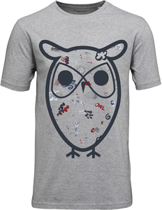 T-Shirt with Concept Owl - grey melange - KnowledgeCotton Apparel
