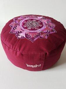 Meditationskissen rund mit OM Mandala Bestickung - BAGHI
