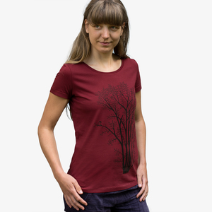 T-Shirt Erle mit Elster in burgundy - Cmig