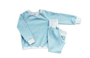 Kinder Schlafanzug Bio Baumwolle Ringel smoke blue/weiß/grau - betus