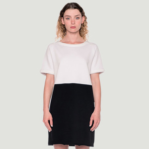 'Divided' Jersey Dress White/Black - Rotholz