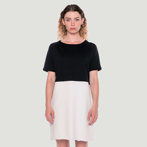 'Divided' Jersey Dress Black/White - Rotholz