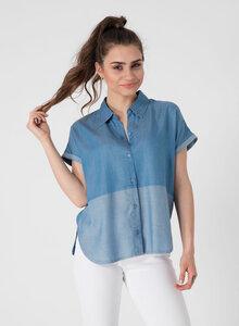 Kontrast geteilte Bluse aus Tencel® Denim - ORGANICATION