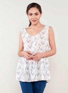 Allover Print Bluse aus Tencel® mit Volant-Saum und Knopfleiste - ORGANICATION