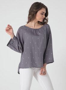 Leichte Langarm Bluse aus Tencel® mit Allover Print - ORGANICATION