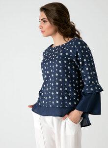Leichte Langarm Bluse aus Tencel® mit Allover Print und Volants - ORGANICATION