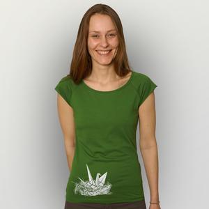 'Origami-Kranich' Bamboo Jersey T-Shirt  - shop handgedruckt