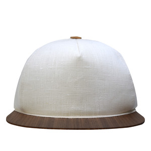 Leinen Cap weiß mit edlem Holzschirm - Made in Germany - Sehr bequem - Lou-i