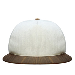 Baseball Cap weiß mit edlem Holzschirm -Cap & Stoff Made in Germany  - Lou-i