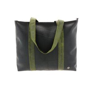 Ramblas - stylischer Shopper aus Reifenschlauch und Öko-Leder - grün - MoreThanHip