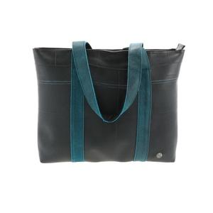 Ramblas - stylischer Shopper aus Reifenschlauch und Öko-Leder - blau - MoreThanHip