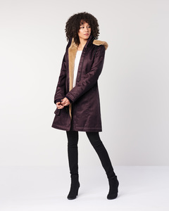 Wintermantel - Ladies' Long HoodLamb Coat - Aubergine - Hoodlamb