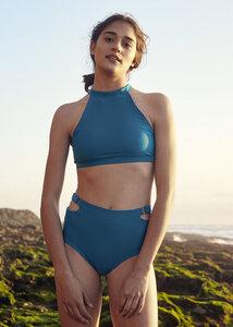 Reversible Surf bikini Peniche Bottom - Ozeanwellen Print/ Resort Blau - BOO Surfwear