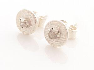 Ohrstecker kleine Spirale weiß Silber - Filigrana Schmuck