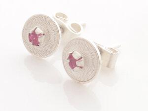 Ohrstecker kleine Spirale rosa Silber - Filigrana Schmuck