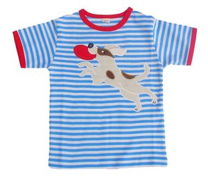 Kurzarmshirt, t-shirt 'Hund' ,hell blau/natur-gestreift, 100 % Baumwolle (kbA) - PAT & PATTY