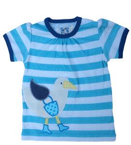 Kurzarmshirt , T-shirt 'Möwe' ,eisblau/natur-gestreift, 100 % Baumwolle (kbA) - PAT & PATTY