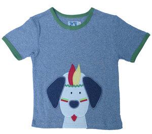 Kurzarmshirt, t-shirt 'indianer Hund' , graue Melange , 100 % Baumwolle (kbA) - PAT & PATTY