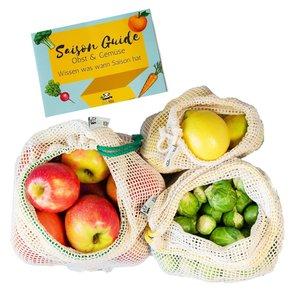 Extra Stabile Obst- & Gemüsenetze 3er Set (S,M,L) mit Gewichtsangabe - EcoYou