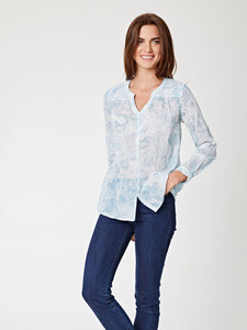 Marina Printed Button Up Blouse - Thought