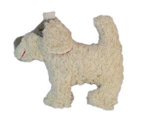 Greifling mit Rassel 'Hund' weiss , 100 % Baumwolle-kbA - PAT & PATTY