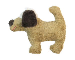 Greifling mit Rassel 'Hund' hell braun , 100 % Baumwolle-kbA - PAT & PATTY