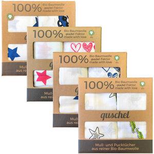 2x Pucktuch / Spucktuch / Mulltuch 120x120cm aus 100% Bio-Baumwolle - quschel®