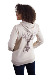 Fairwear Organic Zipper Hoodie Women Weltenbaum Heather Beige - Life-Tree