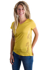 Fairwear Organic V-Neck Shirt Mustard Yellow Growing Up - Life-Tree
