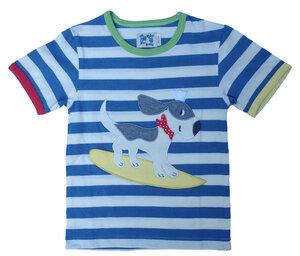 Kurzarmshirt, t-shirt 'Hund auf ein Surbord' ,hell blau/natur-gestreift - PAT & PATTY