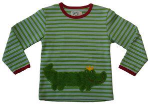Langarmshirt 'Krokodil' ,grün/eisblau-gestreift, 100 % Baumwolle (kbA) - PAT & PATTY