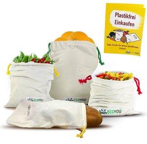 Obst- & Gemüsebeutel 4er Set Baumwolle + Plastikfrei Einkaufen Guide  - EcoYou