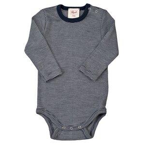 Wolle-Seide Body - dunkelblau geringelt - People Wear Organic