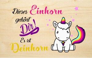 Einhorn Holzgrusskarte  - Biodora