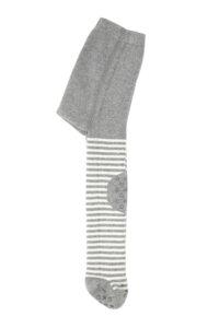 gestreifte Bio Kinderstrumpfhose mit Noppen grau - VNS Organic